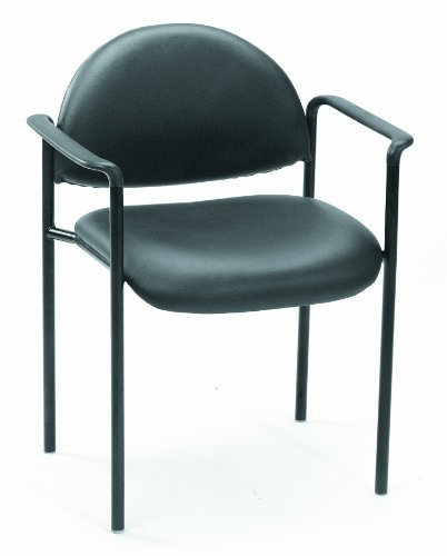 Boss Office Products B9501-CS Dimond Caressoft Stacking Chair with Arms in Black