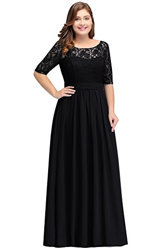 Babyonlinedress Women Long Special Occasion Dresses Plus Size Gown Black 16W ()