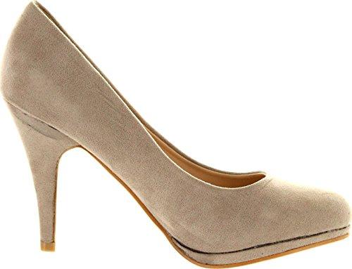 Bella Marie Womens Nine-1 Suede Almond Toe Classic Pumps Stiletto Party Dress Heel