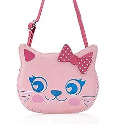 2c3688a20d6 Cat Handbag Pink Little Girl PU Faux Leather Purse Messenger Crossbody or Shoulder  Bag for Kids
