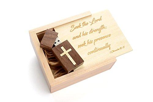 Christian Verse - 16GB Walnut Drive in Maple Wood Veener Cross inlaid - Maple Box - Laser Engraved
