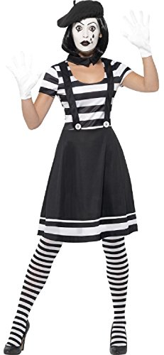 Ladies French Mime Artist Circus Performer Carnival Clown Halloween Fancy Dress Costume Outfit UK 8-18 (UK 12-14) -