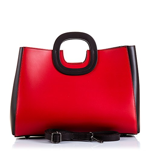 FIRENZE ARTEGIANI.Bolso de mujer piel auténtica.Bolso TOTE cuero genuino RUGA lujo, tacto suave.Asa y forma diseño exclusivo.MADE IN ITALY.VERA PELLE ITALIANA.31x30x15 cm.Color:ROJO/OSCURO MARRON