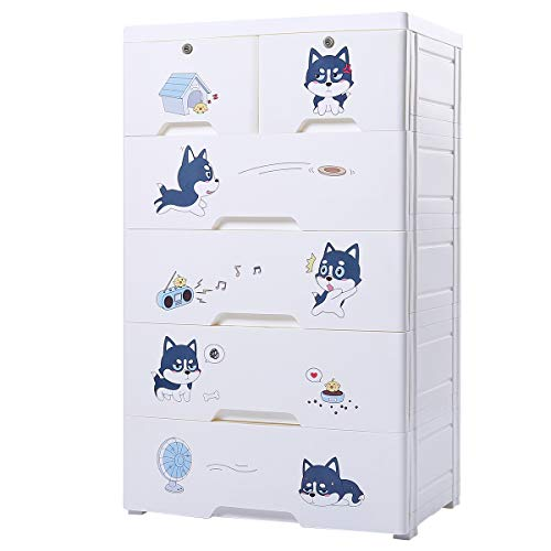 Nafenai 5 Drawer Kids Stroage Cabinet,Children Dresser with Wheels,Baby Portable Closet Bedroom Armoire,Large Storage Organzier Dresser