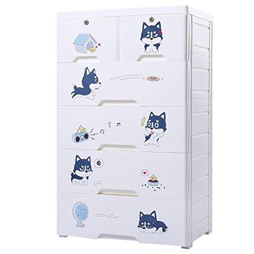 (Nafenai 5 Drawer Kids Stroage Cabinet,Children Dresser with Wheels,Baby Portable Closet Bedroom Armoire,Large Storage Organzier Dresser)