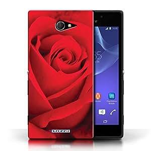 Kobalt® protector duro de nuevo caso / cubierta para el Sony Xperia M2   Rosa roja Diseño   Floral flores jardín colección