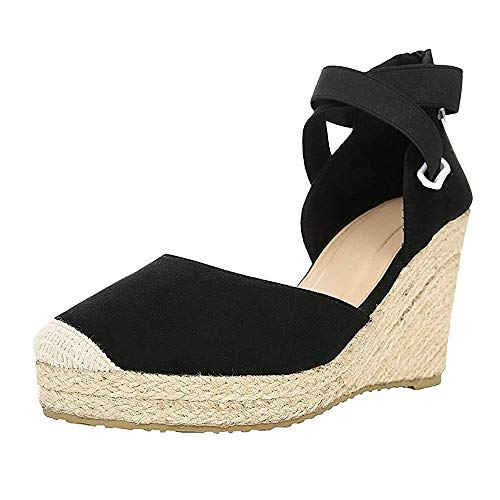 (Womens Espadrille Platform Sandals Closed Toe Criss Cross Ankle Straps with Back Zipper Wedge Sandals)