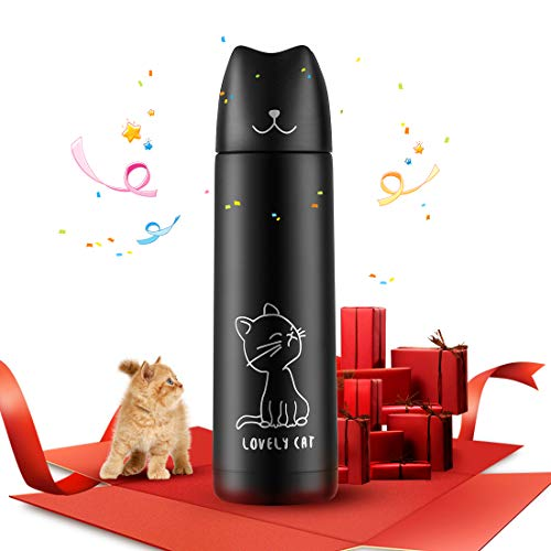 (Cute Cat Thermal Mug, ONEISALL Cat Tumbler with Pourable Stopper, 16Oz Stainless Steel Vacuum Insulated Cat Water Bottle, Best Birthday Christmas Gift)