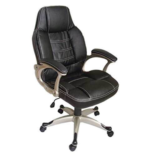 Daonanba Real Leather Office Chair Comfortable Office Seat High Back Black Durable Easy to Clean by Daonanba