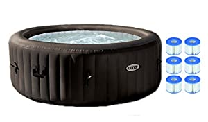 Intex Pure Spa 4-Person Inflatable Jet Massage Hot Tub w/ Six Filter Cartridges