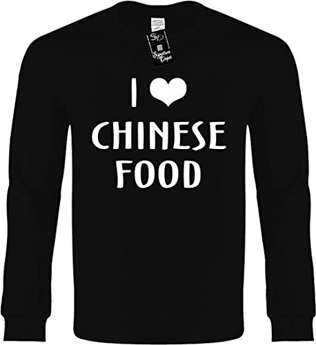 Funny Long Sleeve Size L (I LOVE (HEART) CHINESE FOODS) Novelty Shirt (Chinese Love T-shirt)