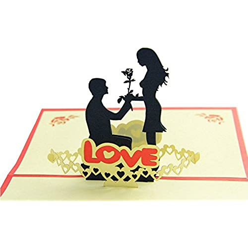 IShareCards Handmade 3D Pop Up Greeting Cards for Valentines,Lovers,Couple's / Valentines day Gifts (Say LOVE) Sales