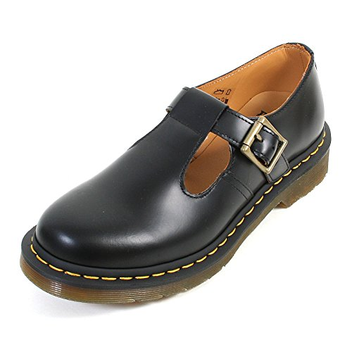 Dr. Martens Women's Polley Mary Jane Flat black smooth 8 Medium UK (10 US)