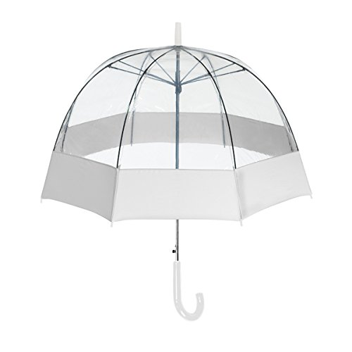 ShedRain® Auto Open Clear Bubble Umbrella With Sewn Fabric Border: White and Clear by ShedRain®