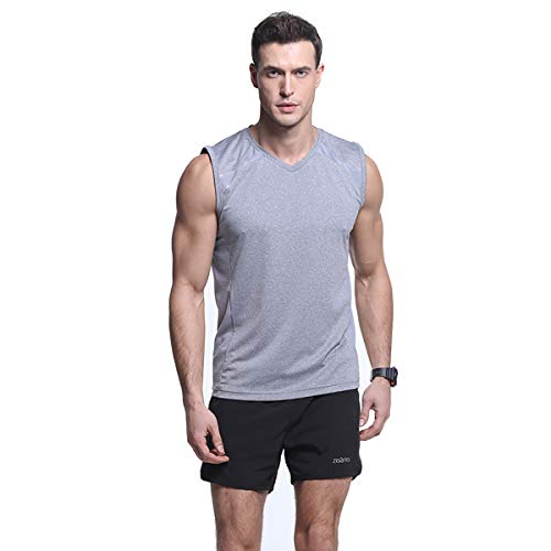 Men's Performance Slim-Fit Mesh Stretchy Sleeveless Tank Top Quick-Dry Athletic Shirts Gray (Mesh Cool Sleeveless)