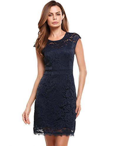 Bifast Women Sleeveless Lace Floral Elegant Cocktail Dress Crew Neck Knee Length for Party