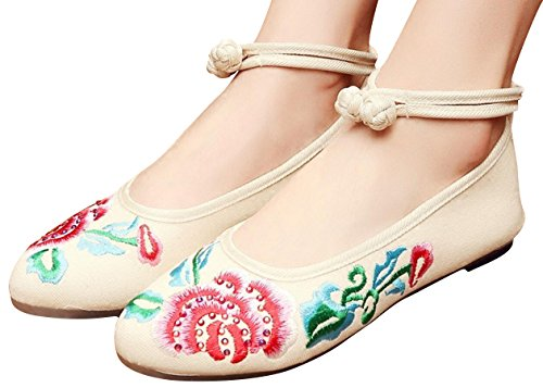 SATUKI Embroidered Shoes For Women, Chinese Style Knot Handmade Casual Loafer Floral Flat Shoes Beige