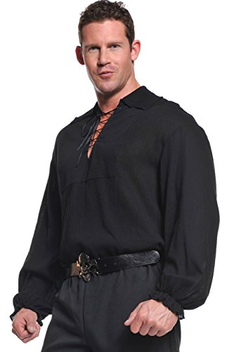 Underwraps Costumes  Men's Renaissance Pirate Shirt, Black, One Size -