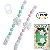 Set of 2 Universal Baby Pacifier Clips with Silicone Teething Beads for Girls, MAM Pacifier Clip Adapter, Soothie Pacifier Holder & Baby Teether Holder, Binky Clips are Best Baby Girl Gifts