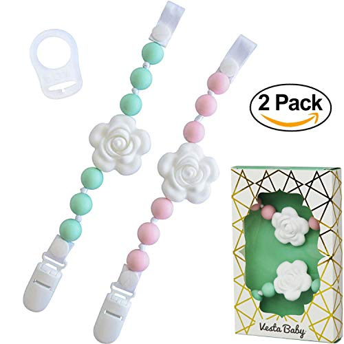 -  Set of 2 Universal Baby Pacifier Clips with Silicone Teething Beads for Girls, MAM Pacifier Clip Adapter, Soothie Pacifier Holder & Baby Teether Holder, Binky Clips are Best Baby Girl Gifts
