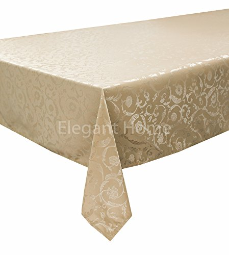 [Elegant Home Light Brown Taupe Tan Floral Jacquard Rectangle Tablecloth Heavy Weight Fabric Table Cover for Kitchen Dinning Tabletop Linen Decor (60