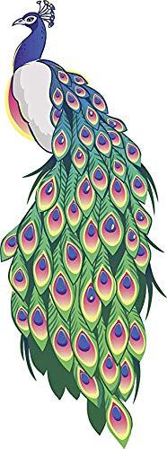 EW Designs Pretty Majestic Peacock Cartoon Art Vinyl Decal Bumper Sticker (8