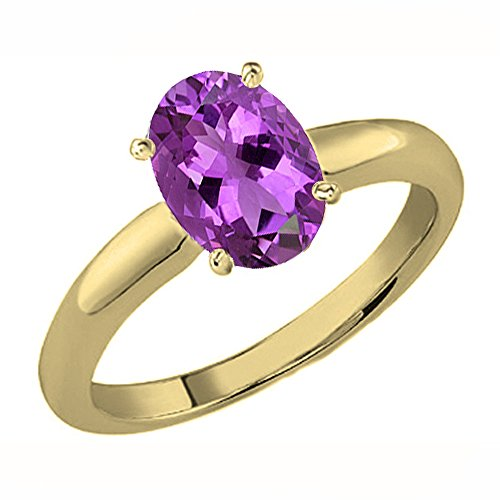 14ky Gold Engagement Ring (14K Yellow Gold 8X6 MM Oval Cut Amethyst Ladies Solitaire Bridal Engagement Ring (Size 8.5))
