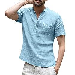 Isovze Fashion Mens Cotton Linen Solid Color Short Sleeve T Shirts Tops Blouse Light Blue