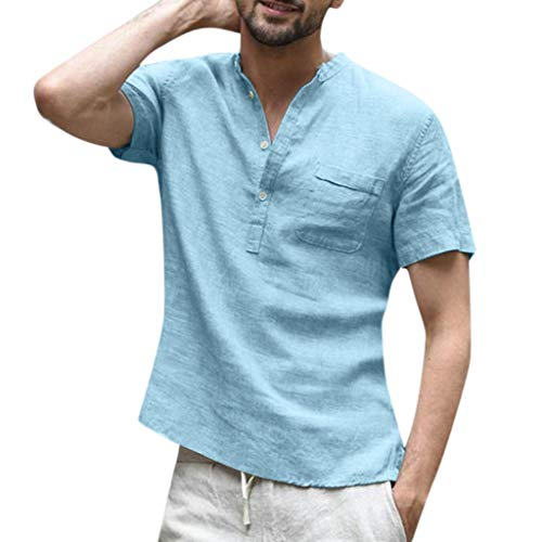 Men's Baggy Cotton Linen Shirts Solid Short Sleeve Retro T Shirts Pocket Casual Button Tops (XL, Light Blue) ()