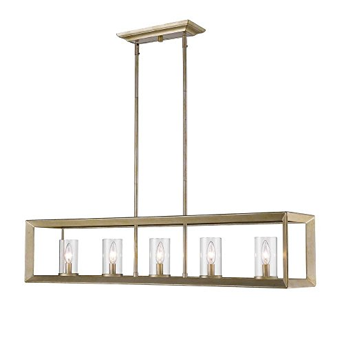 Golden Lighting 2073-LP WG-CLR Smyth WG - Five Light Linear Pendant, White Gold Finish with Clear Glass