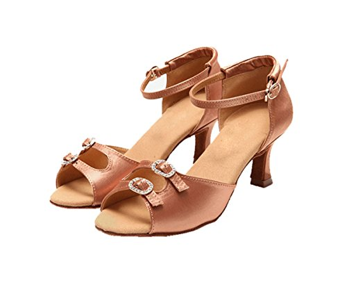 Latin Heel 5 Toe 5cm Peep KS09 Ballroom Salsa Wedding Sandals Satin Women's Nude Miyoopark c4qXWRHac