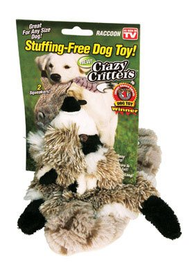 Crazy Critters Stuffing Free Dog Toy- Raccoon