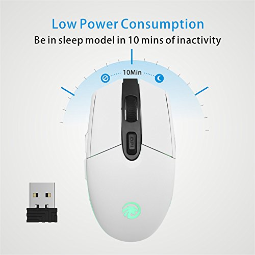 7915a775460 TENMOS T10 Wireless Computer Mouse Rechargeable Optical Led 2.4GHz USB Mouse,  3 Adjustable DPI