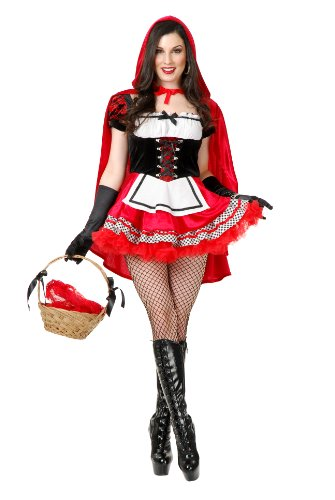 Charades Women's Red Hot Riding Hood Costume Set,