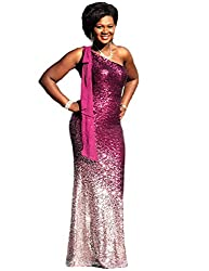 Silver & Fuchsia One Shoulder Ombre Sequins Mermaid Dress