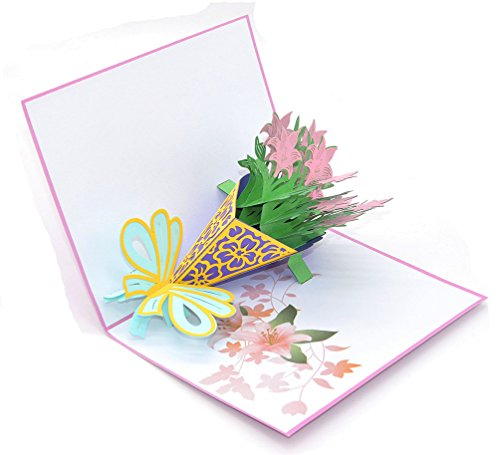Medigy 3D Pop Up Congratulations Greeting Card A Bouquet of Pink Lilies for Valentines,Lovers,Couple's,Wedding,Dating,Anniversary