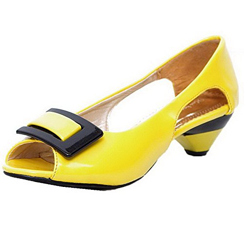 Toe Heels On Low AalarDom Patent Yellow Leather Womens Peep Solid Pull Sandals EwFIY