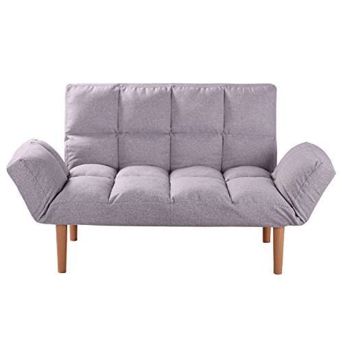 QVB Convertible Loveseat Folding Couch Modern Grey Small Foldable Futon Sofabed with Solid Wood Legs for Kids and Apartment, Grey Color