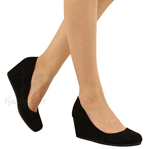 Guilty Shoes - Classic Office Wedge - Comfort Soft Low Heel - Round Toe Pumps Shoes, Black Suede, 8.5