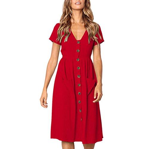 Gnaixeh con Corta Verano En Rojo Midi Manga con Abajo Cuello Vestido V Camisa Bolsillos De rxnXqIgr