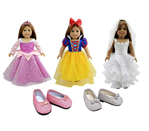 dreamtoyhouse Doll Clothes 3 Sets Princess Party Dress & 3 Hairpins for 18 Inch American Girl Dolls