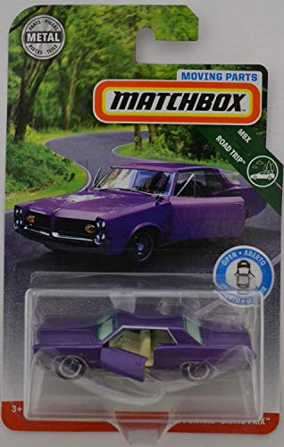 (Matchbox Purple '64 Pontiac Grand Prix 2018 Moving Parts Road Trip Series 1:64 Scale Collectible Die Cast Metal Toy Car Model with Opening Doors)
