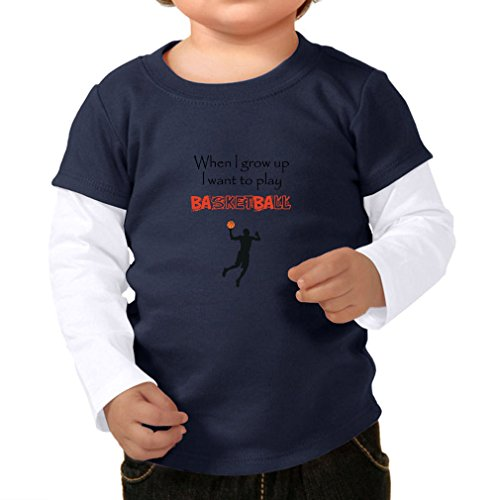 Cute Rascals When I Grow Up I Want To Play Basketball Infants Two-fer Long Sleeve Tee Top Navy White 18 Months