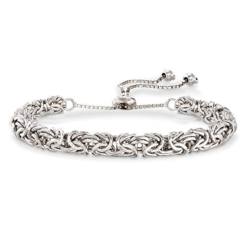 (Orostar Sterling Silver 925 Byzantine Adjustable Link Chain Bolo Bracelet - Extends Up to 10 Inches (Silver))