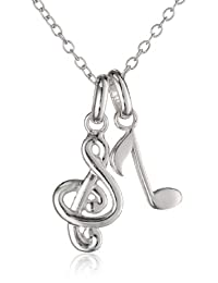 """Sterling Silver Double Music Note Chain Pendant Necklace, 18"""""""