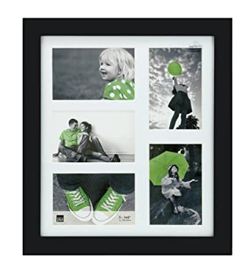 Kiera Grace Langford Wood Photo Frame, 5-Inch by 7-Inch Matted to 4 by 6-Inch, Black