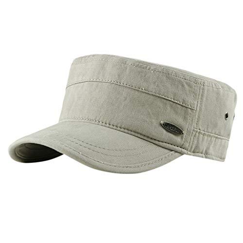 Solid Brim Flat Top Cadet Caps Adjustable Corps Vintage Flat Top Hats Summer Sun Protection Under 5 Dollars Beige (Corp Storage Summer)