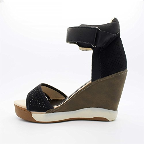Kendall Sandales Chaussures Londres Femmes Talon Compensé Noires Chaussures Talon Kendall Londres Aq8axwpX