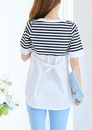 shirt Camicie Manica Donna Comoda Besthoo Premaman Top Bluse L'allattamento Elegante T White Patchwork Casual Strisce Moda Mezza Maglietta xffSRaqvw