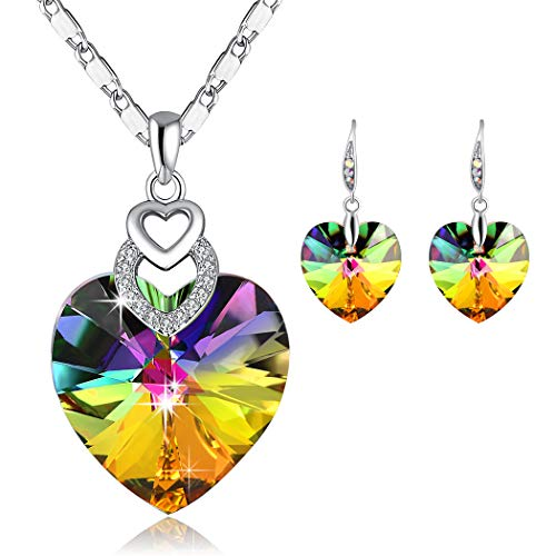 PLATO H Rainbow Heart Pendant Necklace & Earrings Rainbow Color Heart Jewelry Set, Changing Color Necklace Earrings, Woman Fashion Heart Jewelry Set